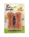 "4"" Bone 2/pk, Chicken pet n shape, pet, shape, chicken, rawhide, rice, lasting, chewz, bone"
